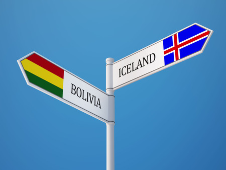 the icelandic flag: Iceland Bolivia High Resolution Sign Flags Concept