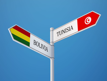 tunisie: Tunisia Bolivia High Resolution Sign Flags Concept