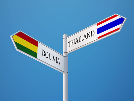 Thailand Bolivia High Resolution Sign Flags Concept photo
