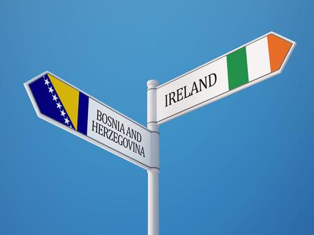 herzegovina: Bosnia and Herzegovina  Ireland High Resolution Sign Flags Concept Stock Photo