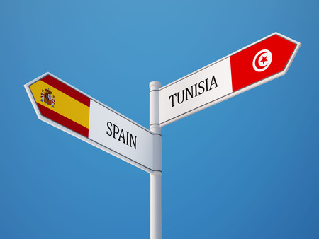 tunisie: Tunisia Spain High Resolution Sign Flags Concept Stock Photo