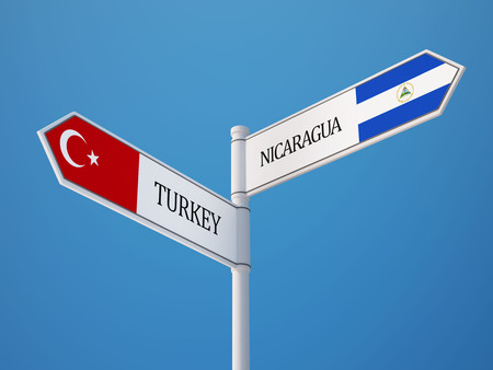 Turkey Nicaragua High Resolution Sign Flags Concept photo