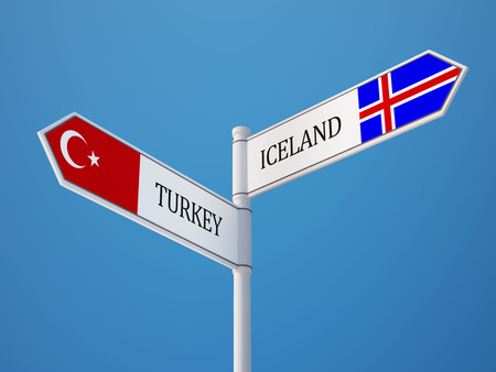 the icelandic flag: Iceland Turkey High Resolution Sign Flags Concept Stock Photo