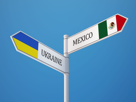 Ukraine Mexico High Resolution Sign Flags Concept photo
