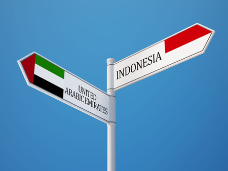 sumatra: Indonesia United Arab Emirates High Resolution Sign Flags Concept Stock Photo