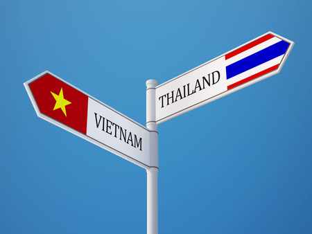 Thailand Vietnam High Resolution Sign Flags Concept photo