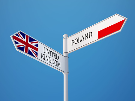 Poland United Kingdom High Resolution Sign Flags Concept Imagens