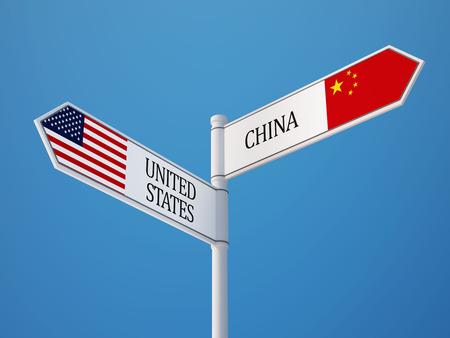 Verenigde Staten China met hoge resolutie Sign Vlaggen Concept