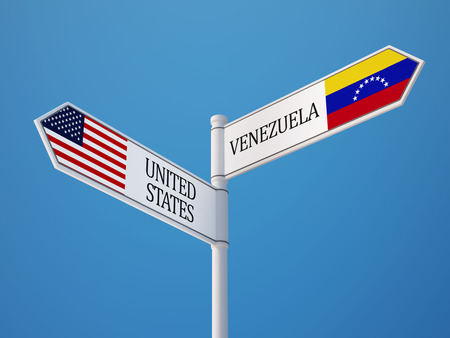 United States Venezuela High Resolution Sign Flags Concept