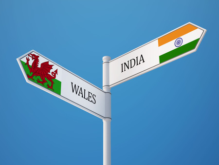 Wales India High Resolution Sign Flags Concept photo