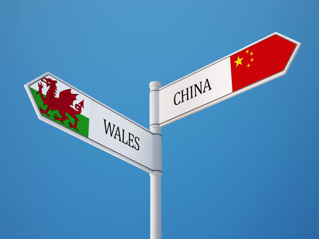 Wales China High Resolution Sign Flags Concept photo