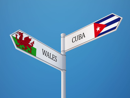Wales Cuba High Resolution Sign Flags Concept photo