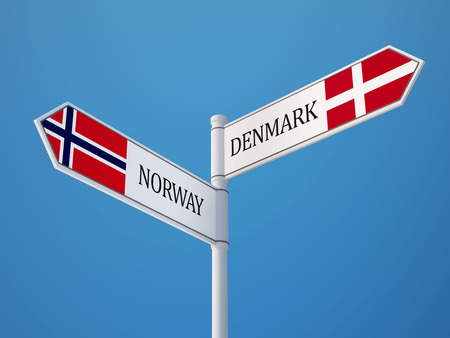 norwegian flag: Norway Denmark High Resolution Sign Flags Concept