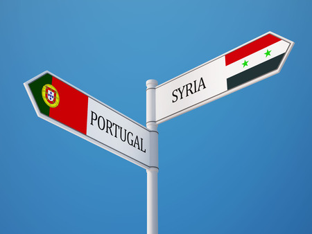 Syria Portugal High Resolution Sign Flags Concept photo