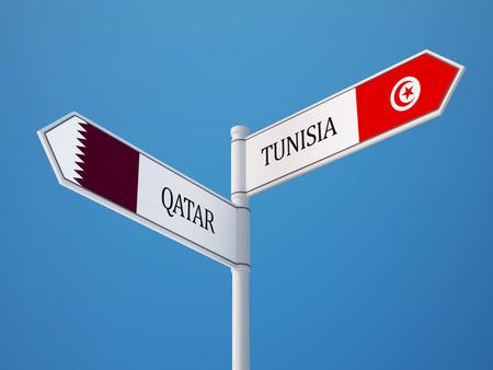 tunisie: Tunisia Qatar High Resolution Sign Flags Concept