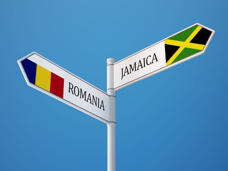 Romania Jamaica High Resolution Sign Flags Concept photo