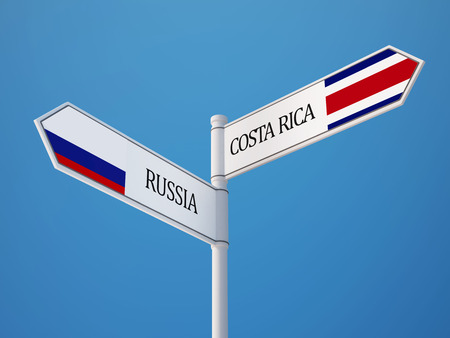 costa rican flag: Russia Costa Rica High Resolution Sign Flags Concept