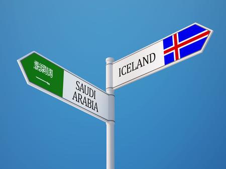 the icelandic flag: Iceland Saudi Arabia High Resolution Sign Flags Concept