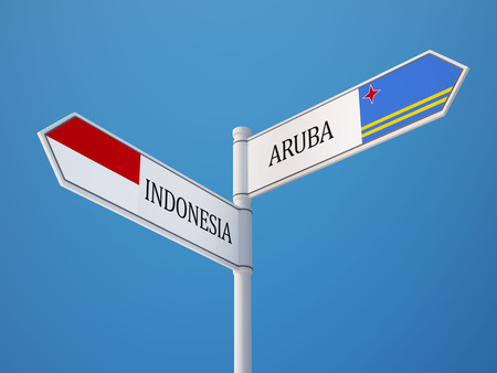 Indonesia Aruba High Resolution Sign Flags Concept photo