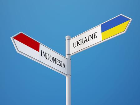 sumatra: Indonesia Ukraine High Resolution Sign Flags Concept