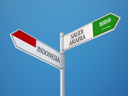 Indonesia Saudi Arabia High Resolution Sign Flags Concept photo