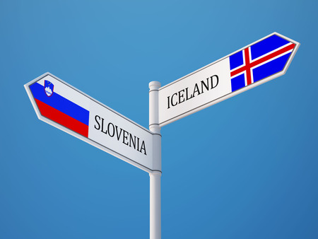 the icelandic flag: Iceland Slovenia High Resolution Sign Flags Concept