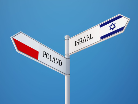 Poland Israel High Resolution Sign Flags Concept Imagens