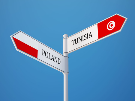 tunisie: Tunisia Poland High Resolution Sign Flags Concept