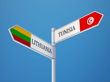 tunisie: Tunisia Lithuania High Resolution Sign Flags Concept Stock Photo