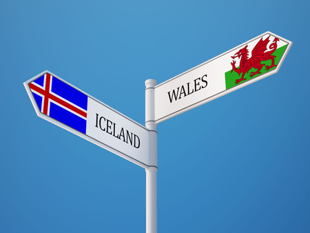 the icelandic flag: Iceland Wales High Resolution Sign Flags Concept Stock Photo
