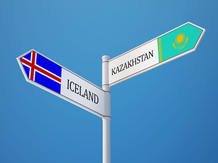 the icelandic flag: Iceland Kazakhstan High Resolution Sign Flags Concept