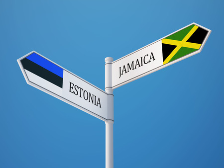 Estonia Jamaica High Resolution Sign Flags Concept photo
