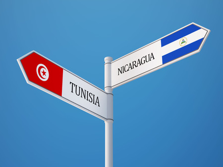 tunisie: Tunisia Nicaragua High Resolution Sign Flags Concept