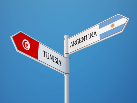 tunisie: Tunisia Argentina High Resolution Sign Flags Concept