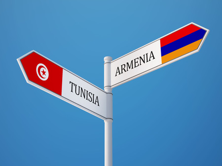 tunisie: Tunisia Armenia High Resolution Sign Flags Concept