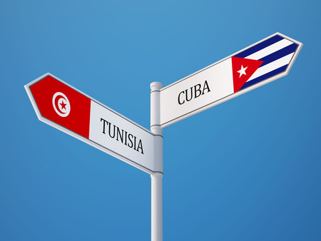 tunisie: Tunisia Cuba High Resolution Sign Flags Concept Stock Photo