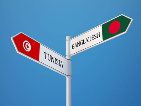 tunisie: Tunisia Bangladesh High Resolution Sign Flags Concept