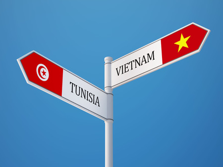 tunisie: Tunisia Vietnam High Resolution Sign Flags Concept Stock Photo