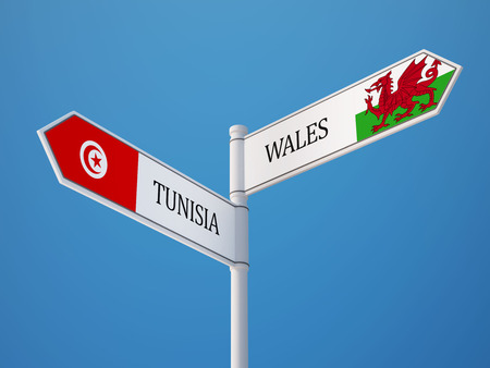 tunisie: Tunisia Wales High Resolution Sign Flags Concept Stock Photo
