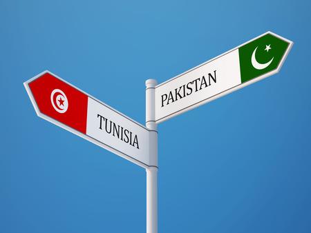 tunisie: Tunisia Pakistan High Resolution Sign Flags Concept Stock Photo