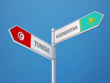 tunisie: Tunisia Kazakhstan High Resolution Sign Flags Concept