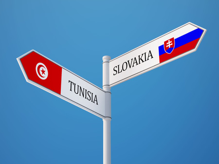 tunisie: Tunisia Slovakia High Resolution Sign Flags Concept