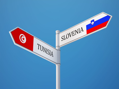 tunisie: Tunisia Slovenia High Resolution Sign Flags Concept