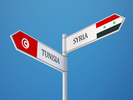 tunisie: Syria Tunisia High Resolution Sign Flags Concept