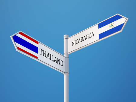 Thailand Nicaragua High Resolution Sign Flags Concept photo