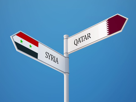Syria Qatar High Resolution Sign Flags Concept photo