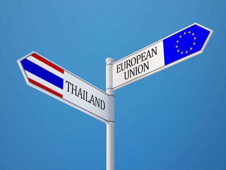 Thailand European Union High Resolution Sign Flags Concept photo