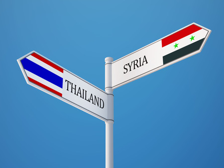 Syria Thailand High Resolution Sign Flags Concept photo