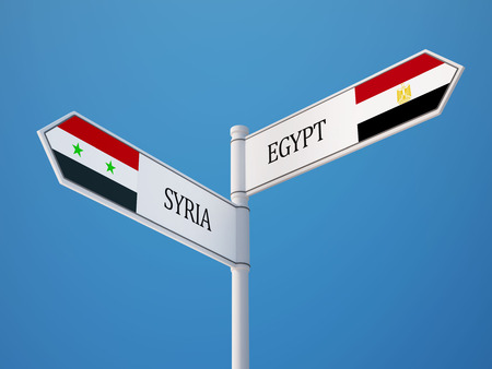 Syria Egypt High Resolution Sign Flags Concept photo