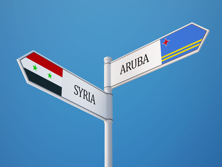 Syria Aruba High Resolution Sign Flags Concept photo
